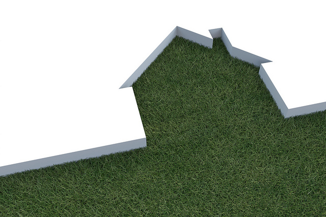 home cut out of grass