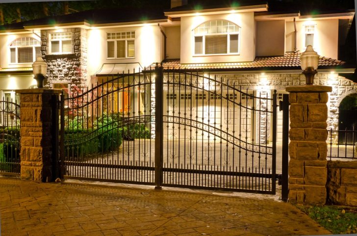 Cantilever Gates at night outside
