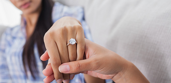 diamond ring on hand of bride