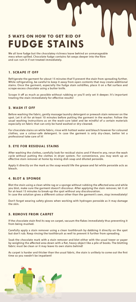 Fudge Stains and how to get rid of them infographic