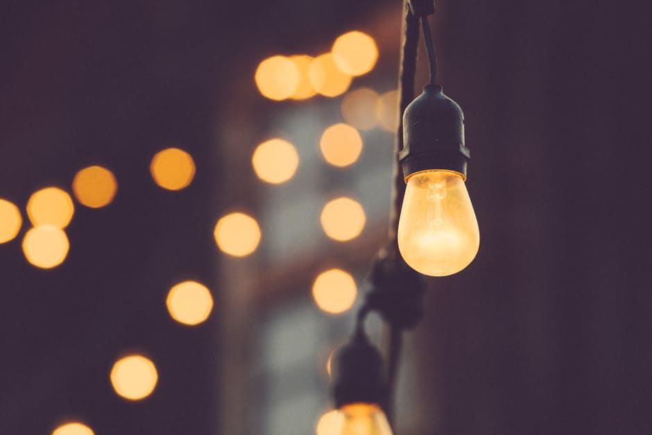 Beautiful Backyard hanging lights