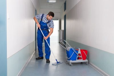 school cleaning tips mopping hallway