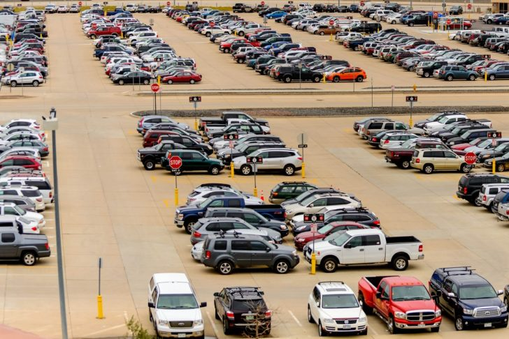Airport parking lot outside