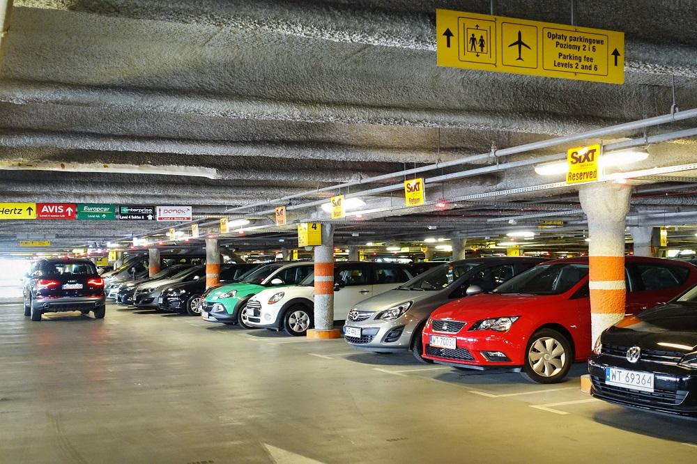 Airport parking garage indoors