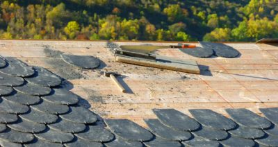 broken roof tiles laying out