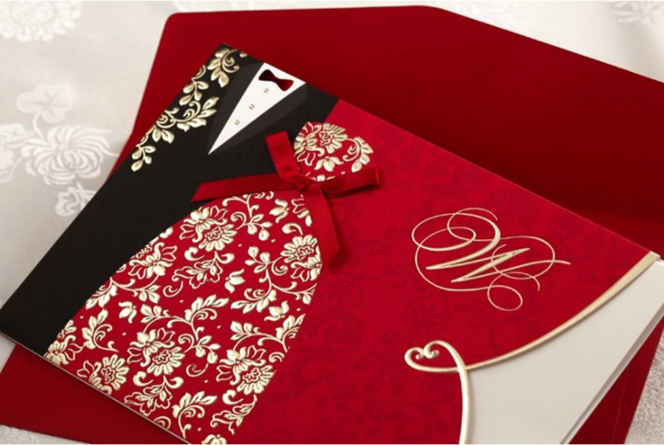 Wedding theme red invitation