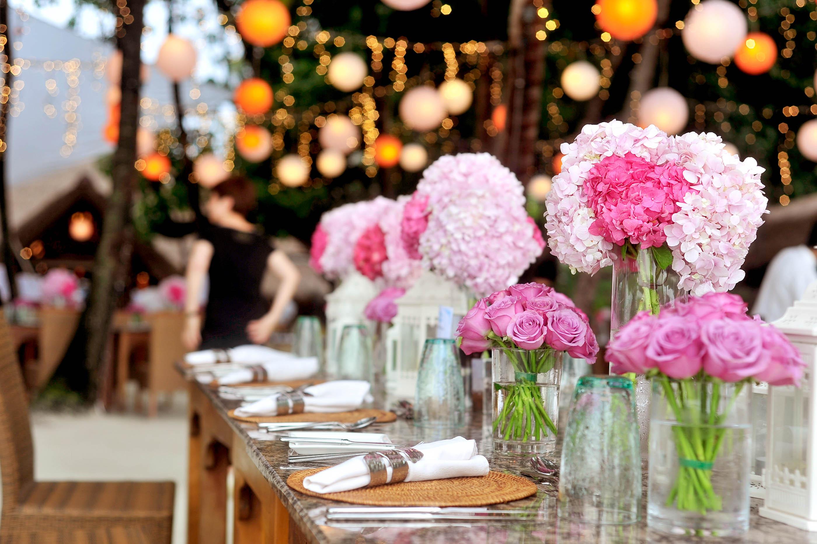 fresh flowers greenery table