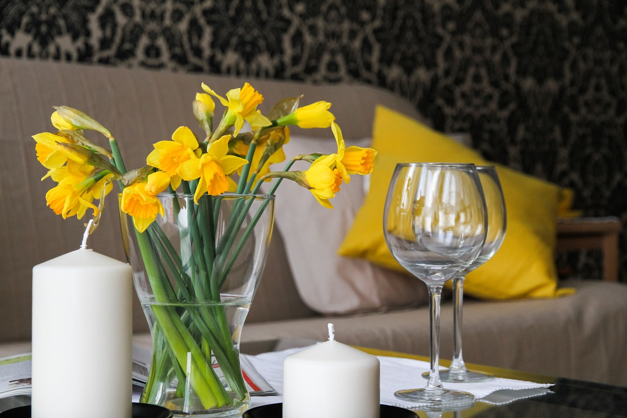 glassware and nice flowers in home