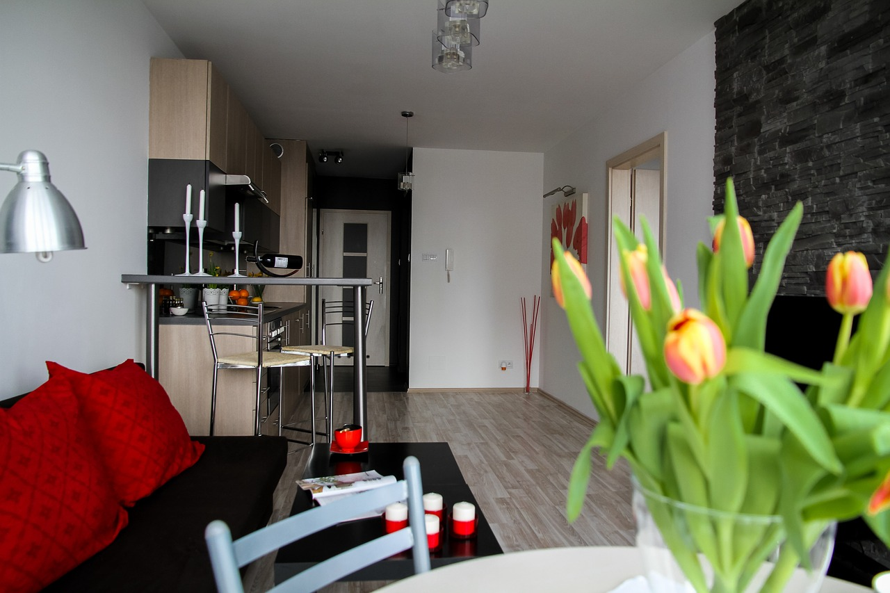 flowers and nice kitchen in home