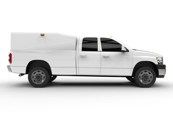 white truck on white background
