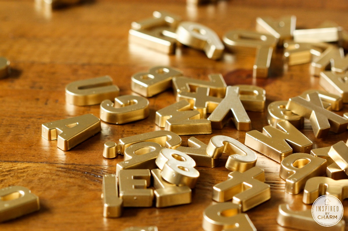 DIY Projects gold letters on table