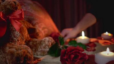 Master Bedroom candles lit