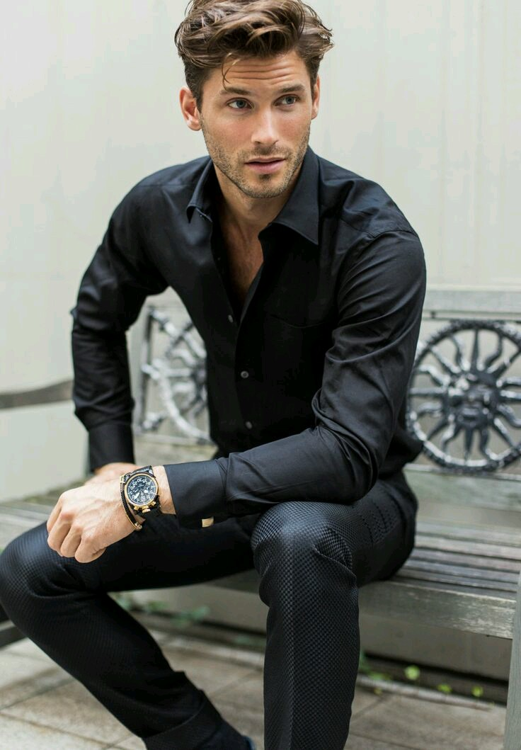 church dress men black shirt