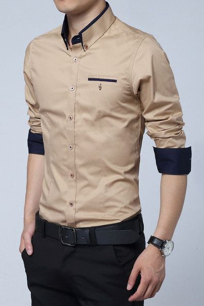 church dress men tan shirt