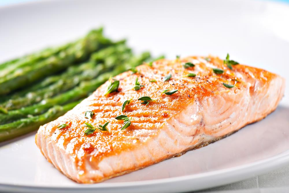 salmon with asparagus fresh for eating