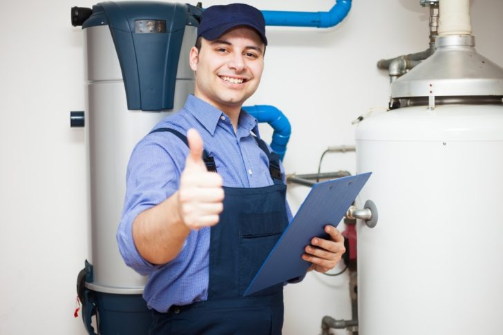 Hot Water man giving thumbs up