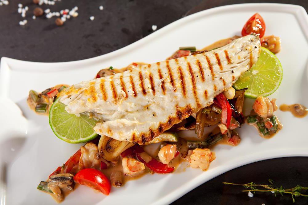 Largemouth Bass filet on plate