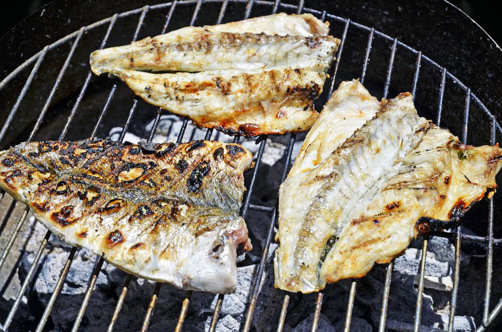Largemouth Bass fillet on grill