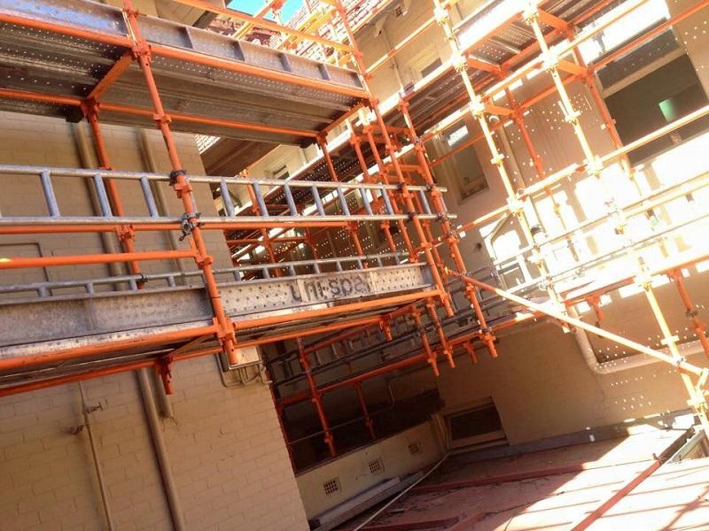 Scaffolding inside of building