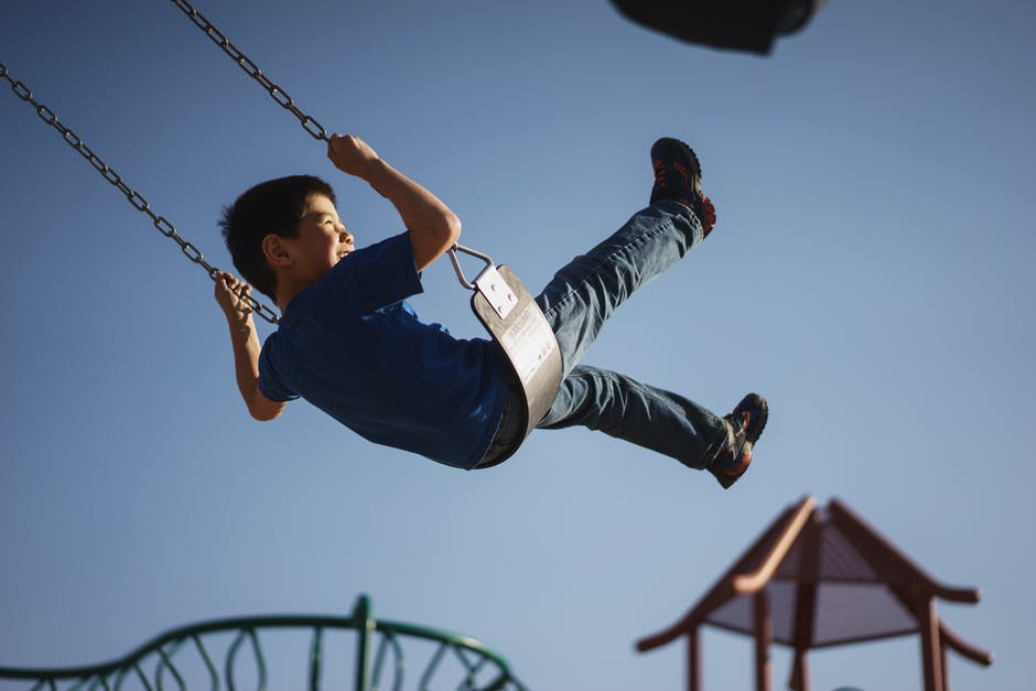 Confidence in kids swinging on playground