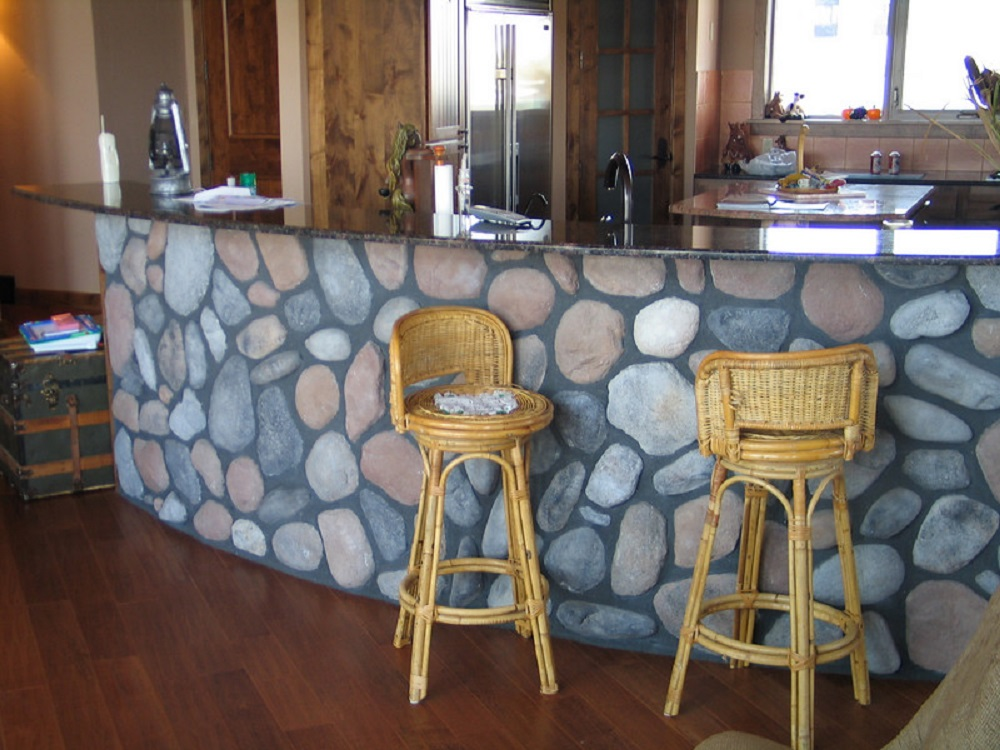 River Rocks bar setup stools