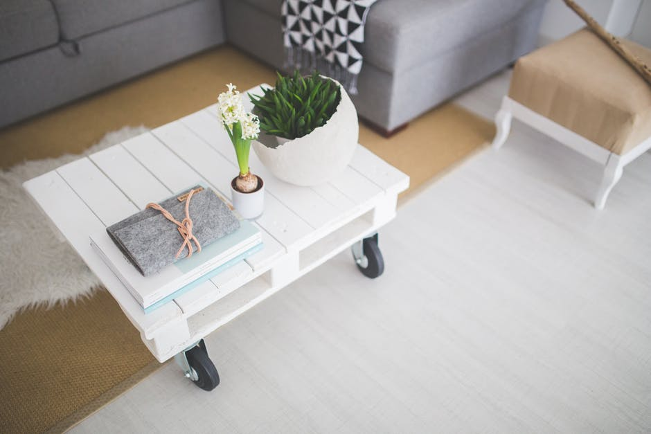 white interior coffee table for home