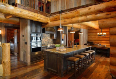 Kitchen design with rustic wood