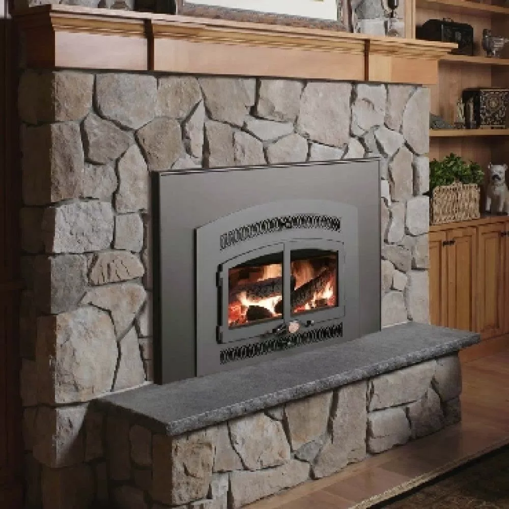 Kitchen stone fireplace
