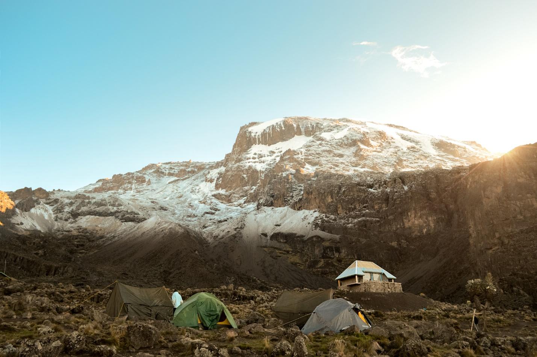 Camping mountain peak