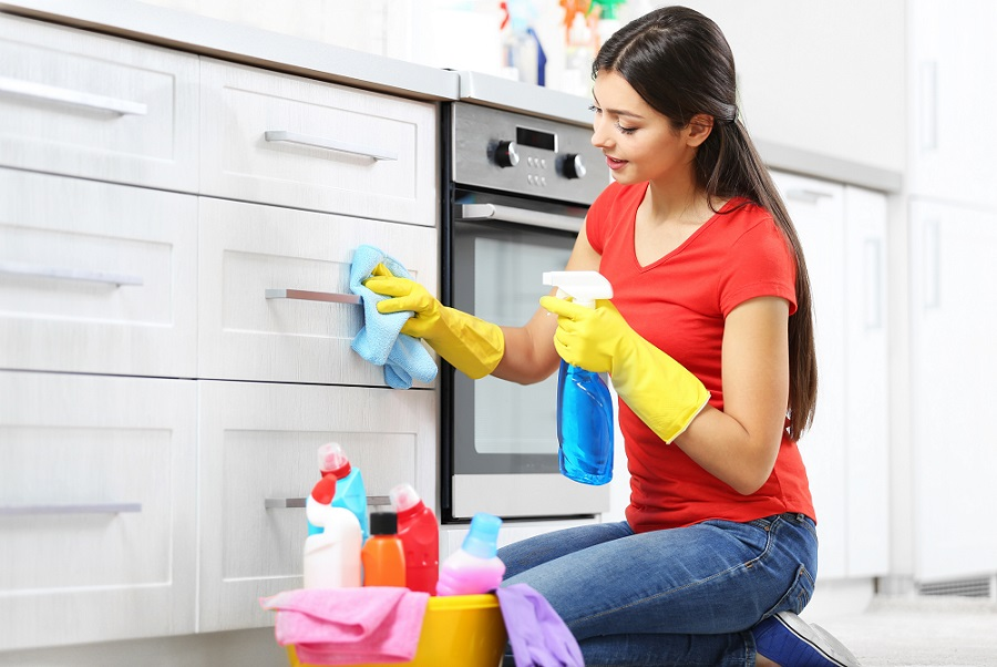 Professional Cleaning Services woman in red