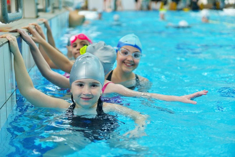 swimming pool kids happy swimming