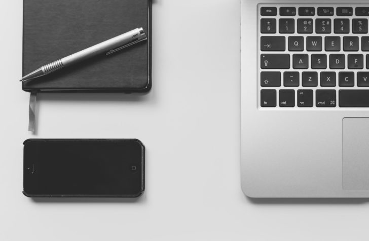 Business blogging laptop computer