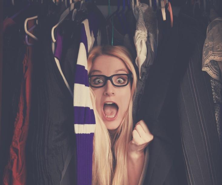 Decluttering woman in shock