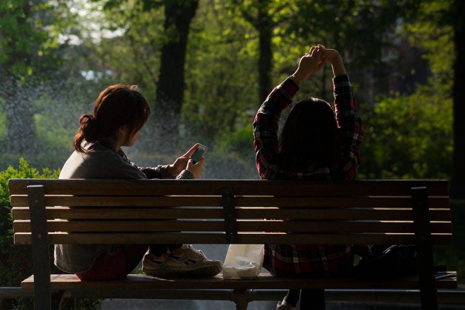 Neighborhood people on bench
