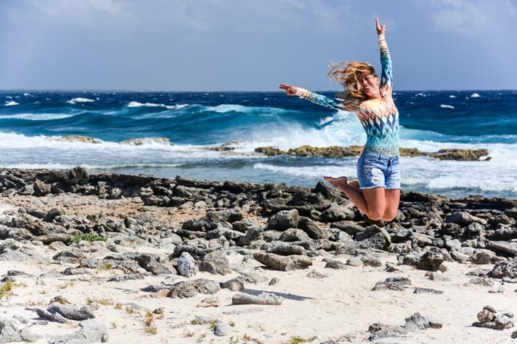 Beach Wear jumping for joy