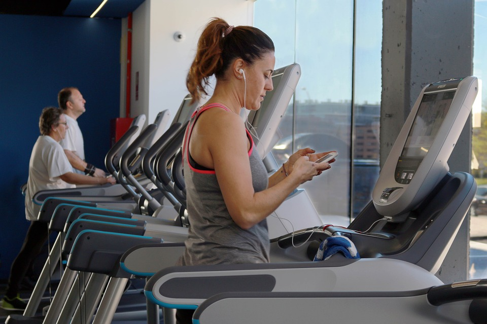 morning workout lady on treadmill