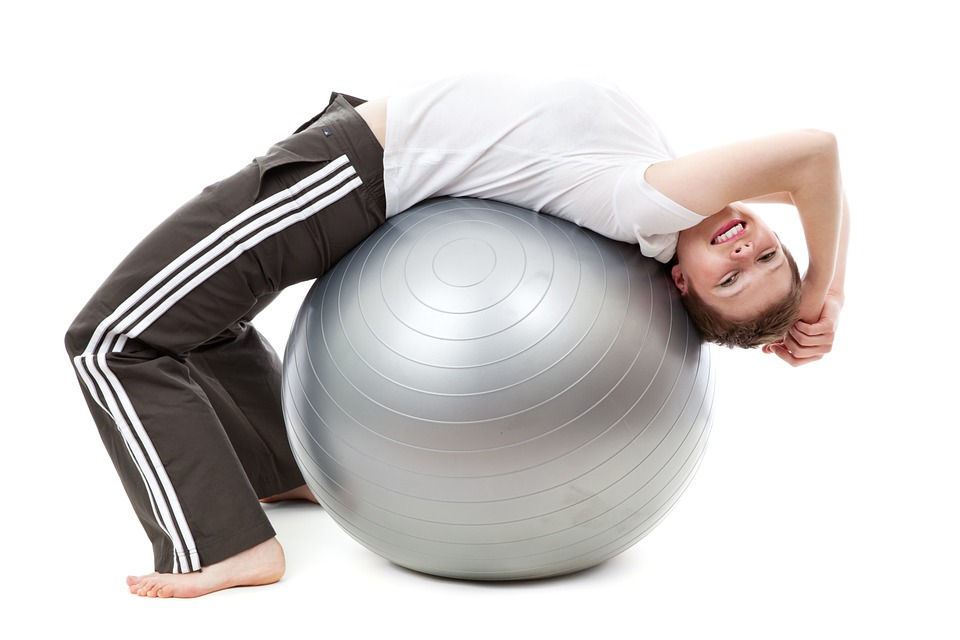 Home Workout on exercise ball