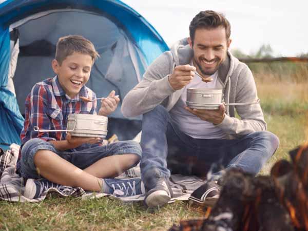 camping gear eating food