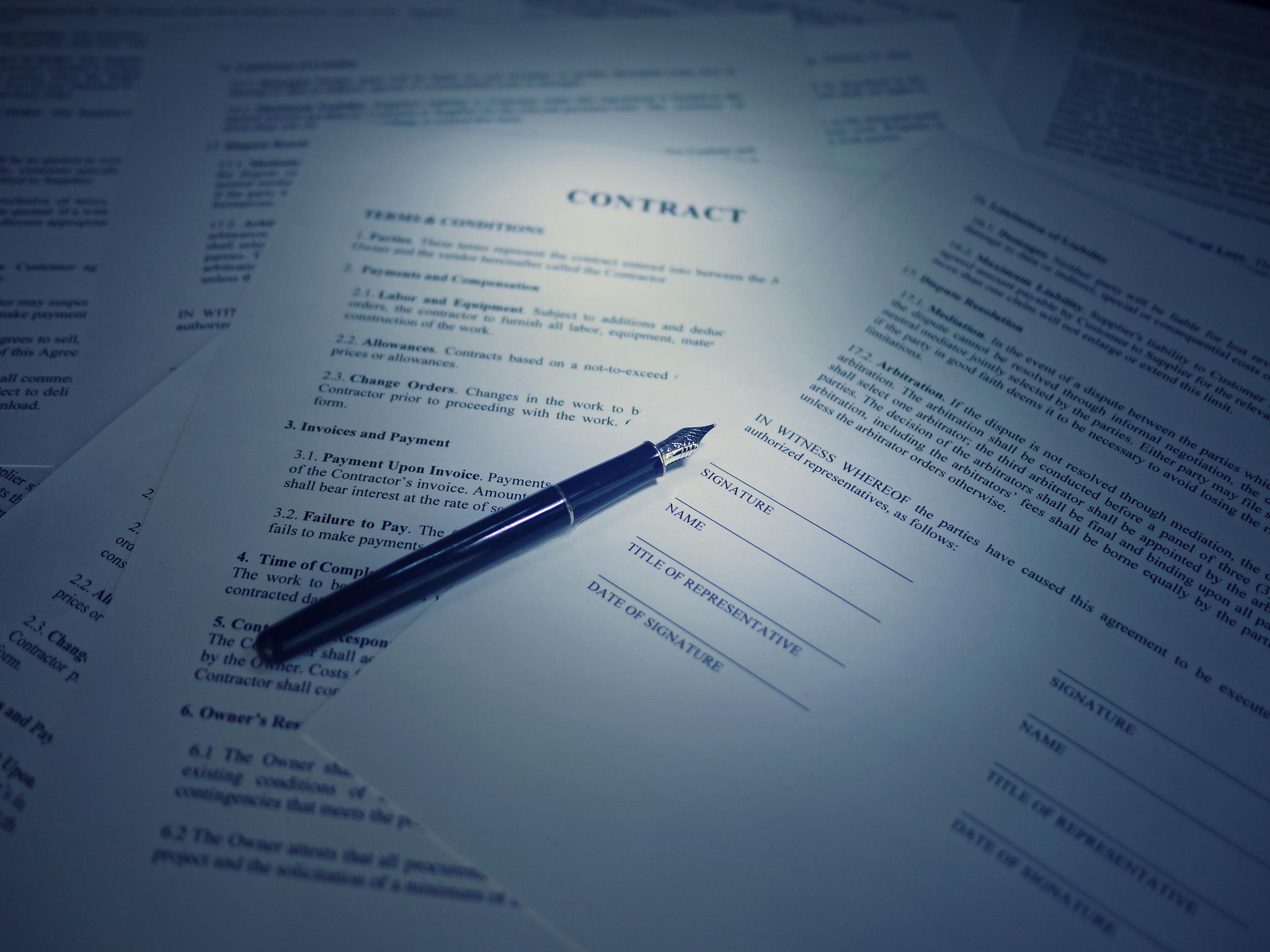 Surety Bonds pen on paper