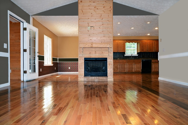 Timber Flooring with fireplace