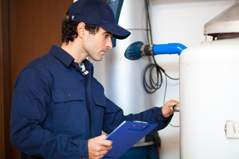 Hot Water System man working