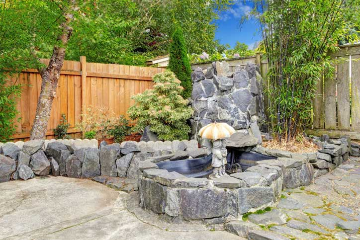 Interior design backyard fountain