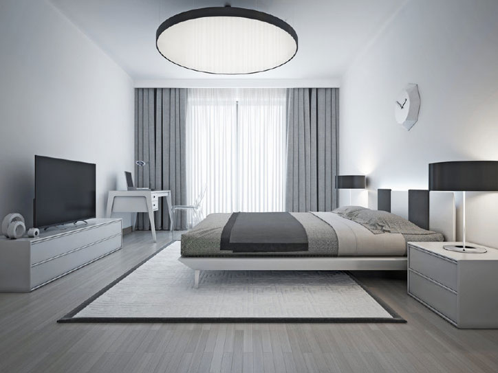 Interior design monochromatic bedroom