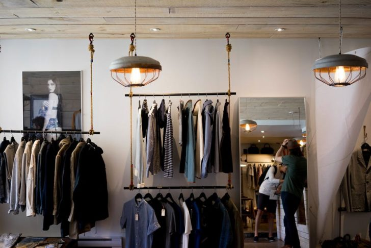 Clothing Store fashion clothes on racks