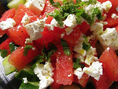 watermelon feta cheese fruit salad recipe