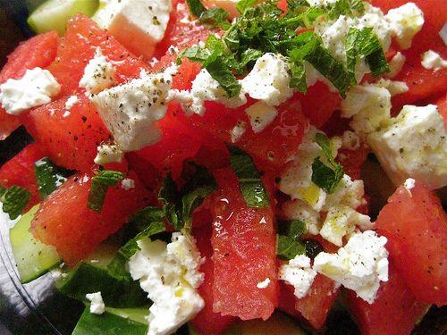 watermelon feta cheese fruit salad recipe