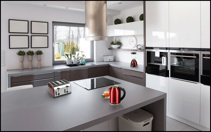 kitchen clean with appliances on countertop