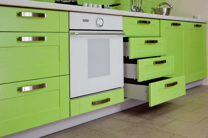 Innovative Kitchen Designs green cupboards