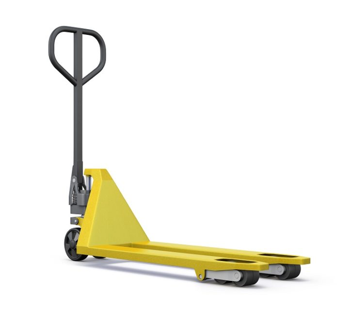 Forklifts yellow on white background
