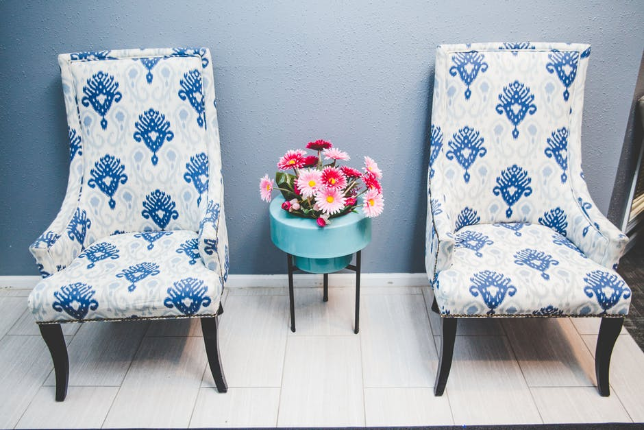Home Renovation blue pattern chairs